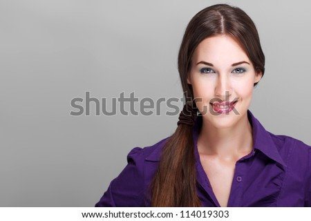 Happy woman smiling - stock photo