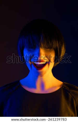 happy woman studio. portrait - stock photo
