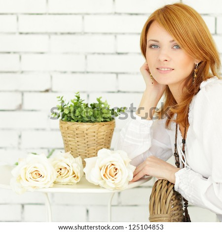 Happy woman, summer background - stock photo