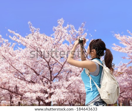 Happy woman traveler photo by camera with cherry blossoms tree on vacation - stock photo