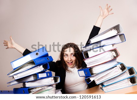 Happy woman with a lot of work - stock photo