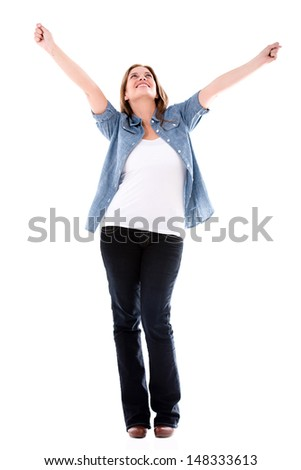 Happy woman with arms up enjoying her success - isolated over white  - stock photo