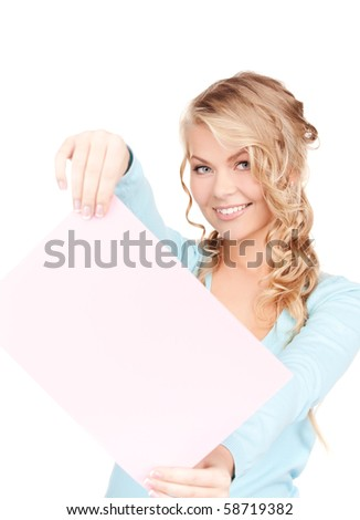 happy woman with blank board over white - stock photo