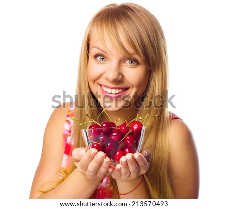 Happy woman with cherries, isolated over white - stock photo