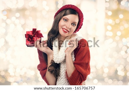 happy woman with christmas present - stock photo