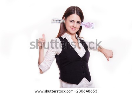 happy woman with dollar banknotes plugged in ears, isolated white background. Positive face expressions, emotions, feelings  - stock photo