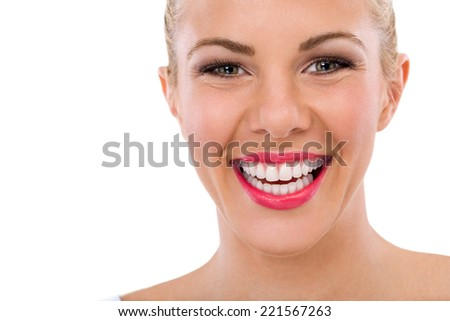 Happy woman with great smile, teeth whitening, dental care - stock photo