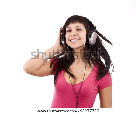 Happy woman with headphones, listen to music and dancing. Isolated on white background - stock photo