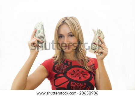 Happy woman with lots of money - stock photo