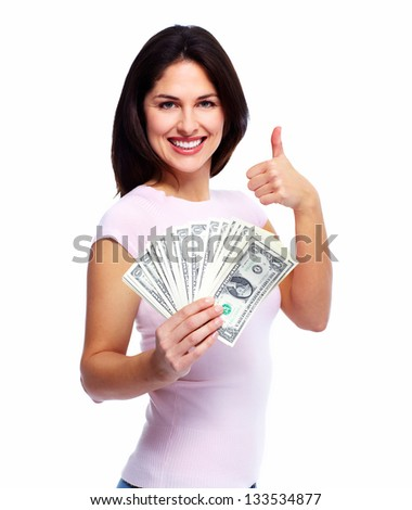 Happy woman with money. Isolated on white background. - stock photo