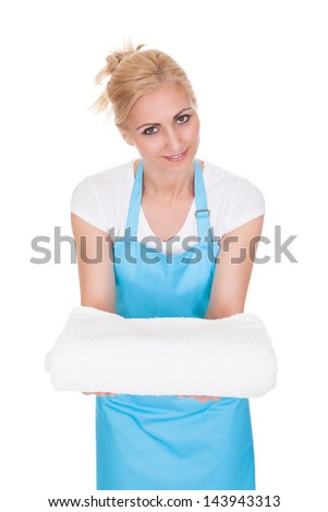 Happy Woman With Towel Over White Background - stock photo