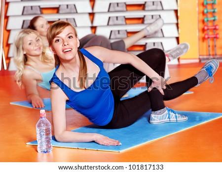 Happy women group in aerobics class. - stock photo