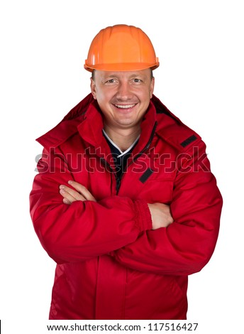 Happy worker isolated on white - stock photo