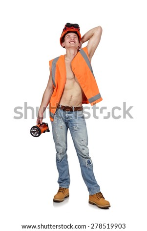 happy worker man with flashlight on a white background - stock photo