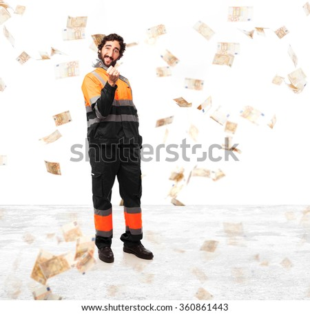 happy worker man with visit card - stock photo