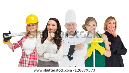 Happy workers of various industries on white background - stock photo