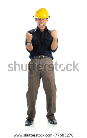 Happy workers wearing safety helmet with excited expression isolated white background. His both hand up at his waist. - stock photo