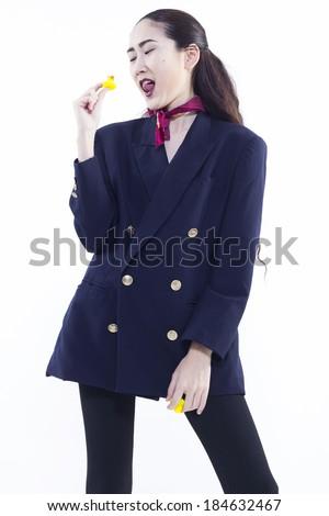 happy working woman - stock photo