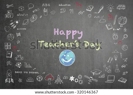 Happy world teacher's day concept with smiley face icon on black chalkboard and doodle freehand sketch chalk drawing: Students sending greeting message to school teachers/ academia on special occasion - stock photo