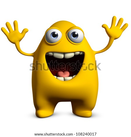 happy yellow monster - stock photo
