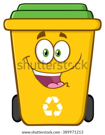 Happy Yellow Recycle Bin Cartoon Character. Raster Illustration Isolated On White Background - stock photo