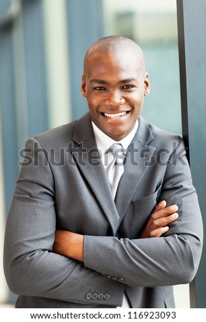 happy young african american businessman portrait - stock photo