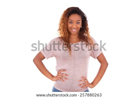 Happy young african american isolated on white background - stock photo