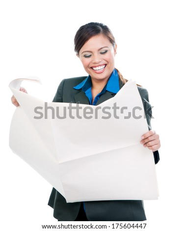Happy young Asian businesswoman holding blank newspaper against white background - stock photo
