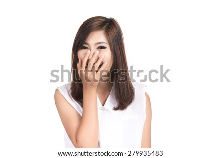 Happy young asian woman with blank copyspace area for text or slogan,Closeup portrait of beautiful Asian woman,Thai girl,Positive human emotion facial expression,isolated on white background - stock photo