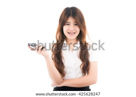 Happy young asian woman with smart phone and thinking with blank copyspace for text,Portrait of beautiful Asian woman,Thai girl,Positive emotion facial expression,isolated on white background - stock photo