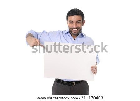happy young attractive business man wearing blue shirt and beard holding blank billboard for adding corporate text or marketing campaign using empty card as copy space isolated on white background - stock photo