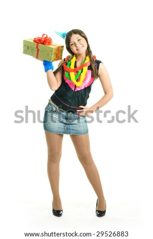 happy young beautiful girl with a present in her hands celebrating birthday - stock photo