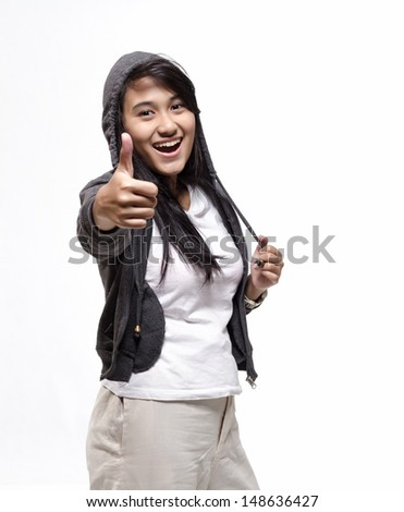 Happy Young Beautiful Woman Showing Thumb Up Sign Isolated On White Background - stock photo