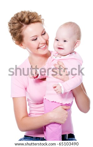 Happy young beauty mother with attractive smile holding her baby - isolated on white - stock photo