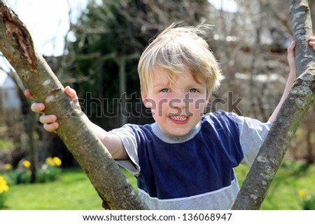 Happy young boy in the garden behind a tree - stock photo