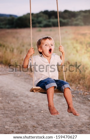 Happy young boy playing on swing in a park - stock photo