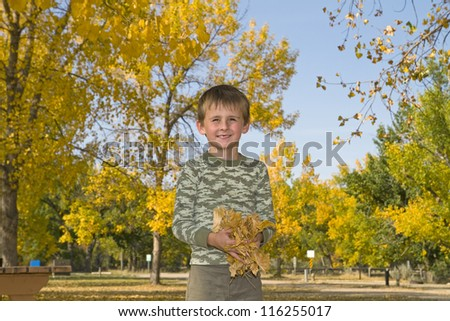 Happy Young boy plays with colorful fall leaves - stock photo