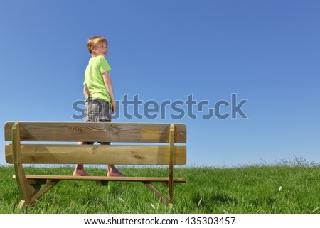 Happy young boy standing on a bench in summer - stock photo