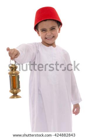 Happy Young Boy with Fez Celebrating Ramadan Isolated on White Background - stock photo