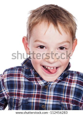 Happy young boy with smile - stock photo