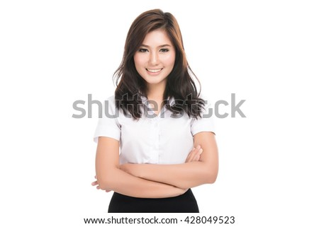 Happy young business asian woman with blank copy space area for text or slogan,Closeup portrait of beautiful Asian woman,Thai girl,Positive human emotion facial expression,isolated on white background - stock photo