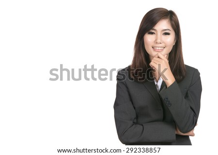 Happy young business asian woman with blank copyspace area for text or slogan,Closeup portrait of beautiful Asian woman,Thai girl,Positive human emotion facial expression,isolated on white background - stock photo