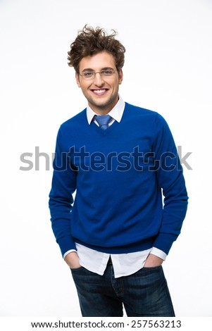 Happy young business man in glasses over white background  - stock photo