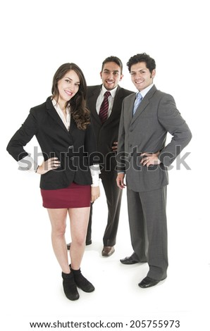 happy young business people wearing suits full body isolated on white - stock photo