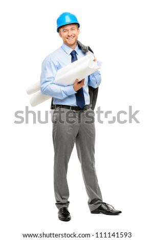 Happy young businessman architect on white background - stock photo