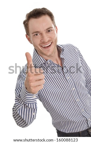 Happy young businessman - isolated with a blue shirt - thumbs up - stock photo