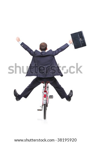 Happy young businessman on a bicycle isolated against white background - stock photo