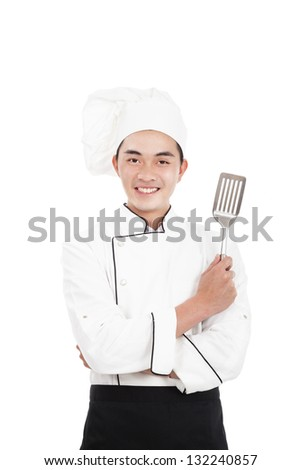 happy young chinese chief - stock photo