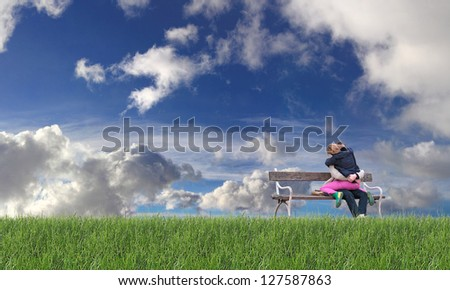 Happy young couple embracing sitting on a bench - stock photo