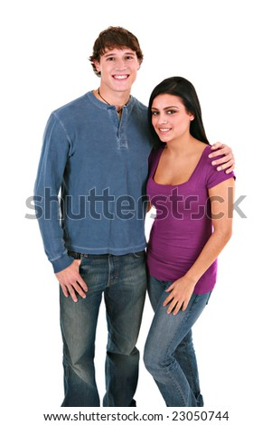 Happy Young Couple Holding Hands Smiling on Isolated White Background - stock photo